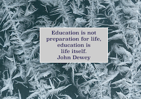 image of ice crystals with John Dewey quote