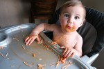 image of baby eating spaghetti
