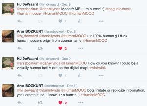 image of twitter conversation about being human